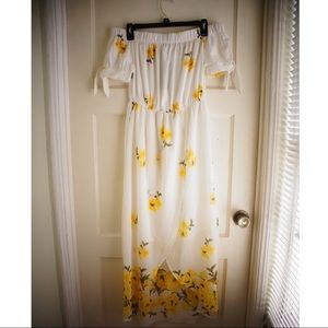 Yellow Floral Off The Shoulder Summer Maxi Dress